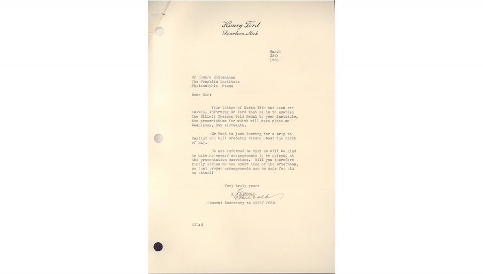 E.G. Liebold letter, to CSA Secretary, Informing that Ford will gladly arrange to attend the medal presentation exercises, 3/28/1928.