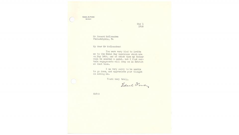 Edsel B. Ford letter, to Howard McClenahan, Appreciating the awards invitation and regretting inability to attend, 5/1/1928.