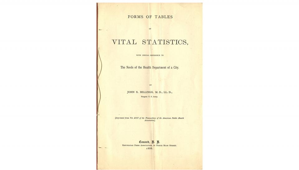 2nd page out of 5 from the Booklet, from John S. Billings, Forms of Tables of Vital Statistics - Needs of a City Health Department, 1888.