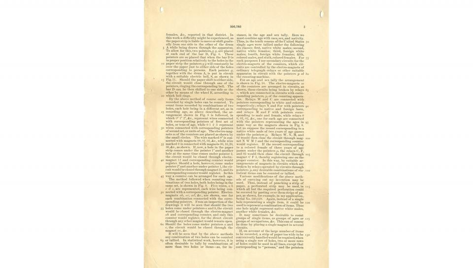 3rd page out of 7 from U.S. Patent No. 395,783 on Apparatus for Compiling Statistics, 1/8/1889.