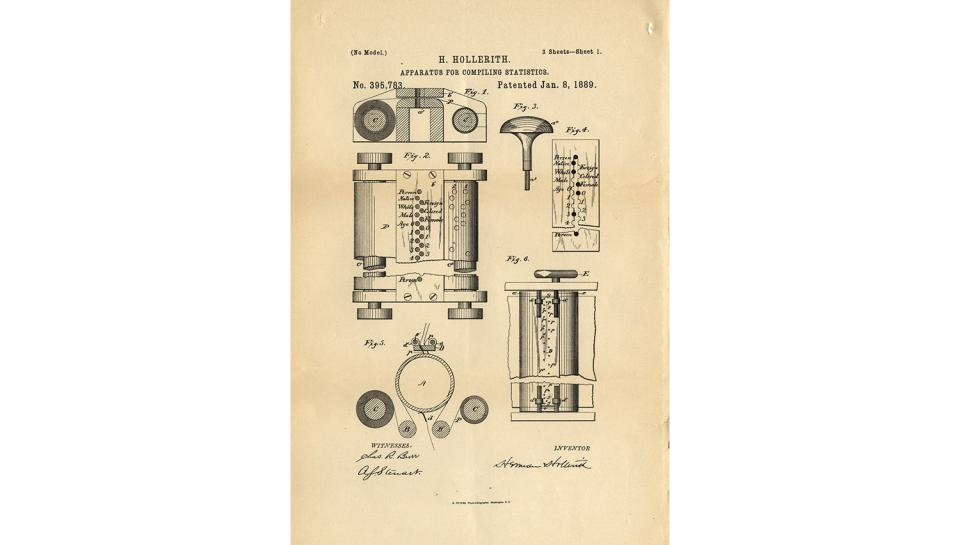 5th page out of 7 from U.S. Patent No. 395,783 on Apparatus for Compiling Statistics, 1/8/1889.