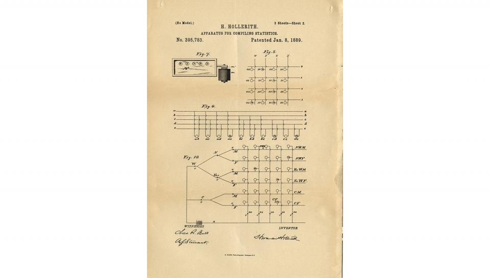 6th page out of 7 from U.S. Patent No. 395,783 on Apparatus for Compiling Statistics, 1/8/1889.