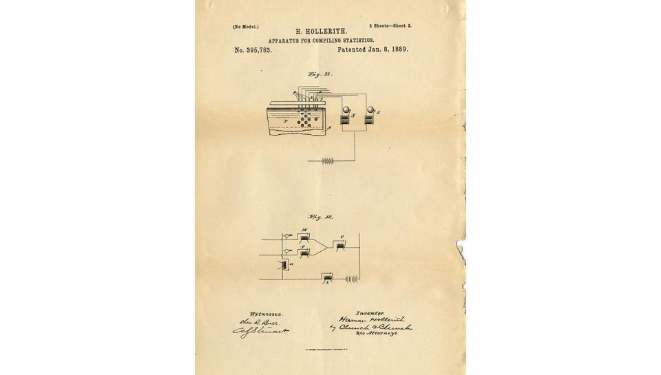 7th page out of 7 from U.S. Patent No. 395,783 on Apparatus for Compiling Statistics, 1/8/1889.