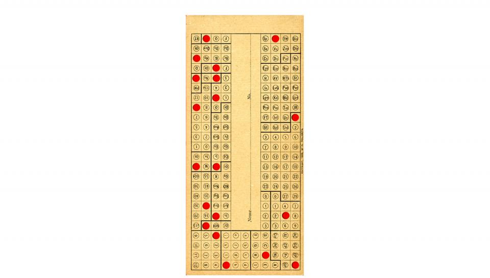 Data Card with punched holes, 1889.