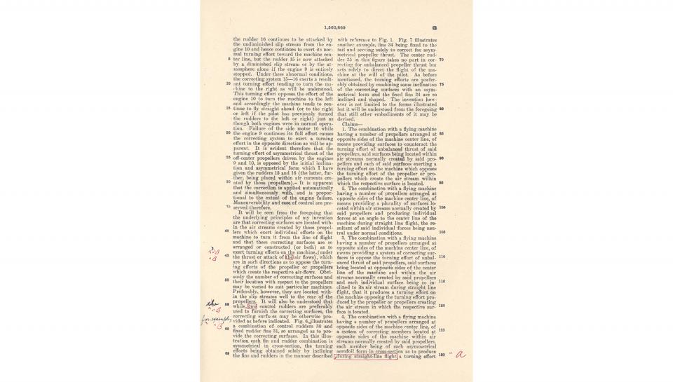 4th page out of 5 for U.S. Patent No. 1,560,869 on Improvements in Flying Machines granted to Igor I. Sikorsky, 11/10/1925.