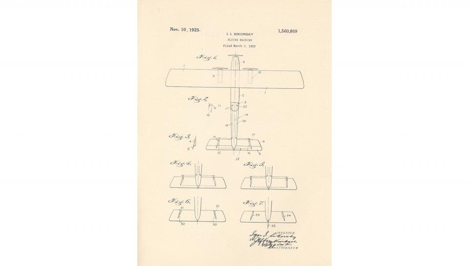1st page out of 5 for U.S. Patent No. 1,560,869 on Improvements in Flying Machines granted to Igor I. Sikorsky, 11/10/1925.