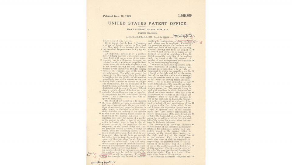 2nd page out of 5 for U.S. Patent No. 1,560,869 on Improvements in Flying Machines granted to Igor I. Sikorsky, 11/10/1925.