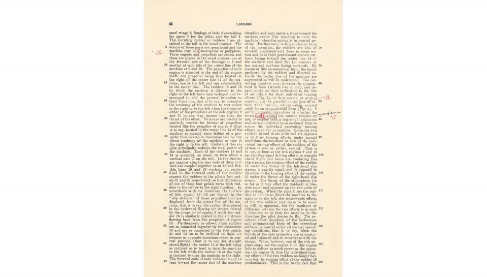 3rd page out of 5 for U.S. Patent No. 1,560,869 on Improvements in Flying Machines granted to Igor I. Sikorsky, 11/10/1925.