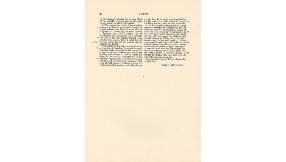 5th page out of 5 for U.S. Patent No. 1,560,869 on Improvements in Flying Machines granted to Igor I. Sikorsky, 11/10/1925.