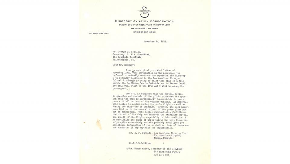 1st page out of 2 of Letter from Igor Sikorsky, to George A. Hoadley, Supplying references to contact for information on the value of the automatic control device, 11/14/1931.