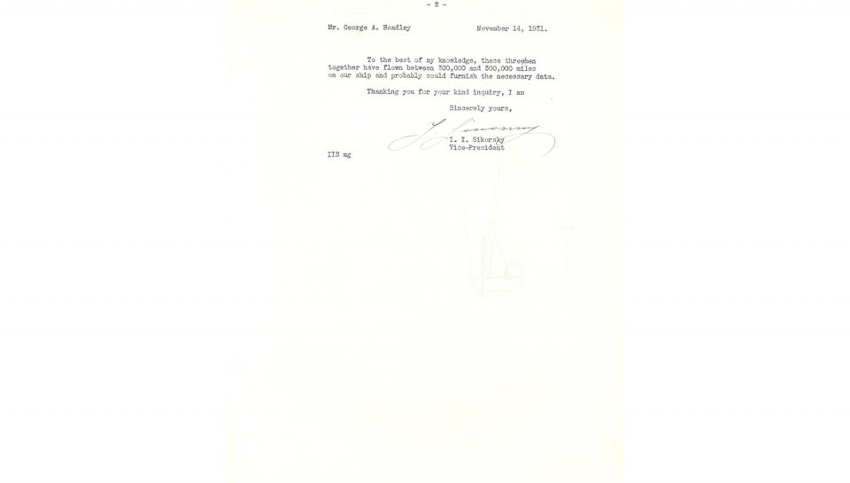 2nd page out of 2 of Letter from Igor Sikorsky, to George A. Hoadley, Supplying references to contact for information on the value of the automatic control device, 11/14/1931.