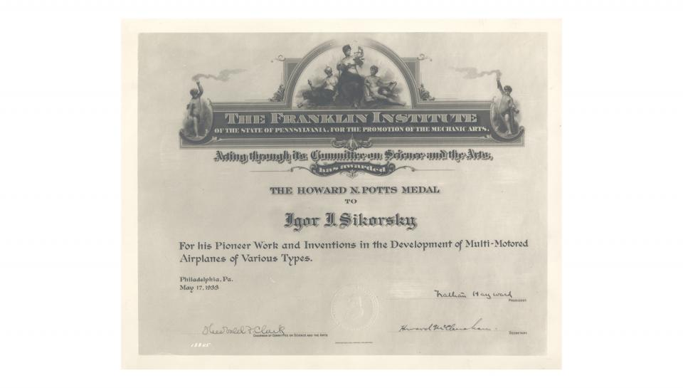 Certificate awarding the Howard N. Potts Medal to Sikorsky for development of Multi-Motored Airplanes, 5/17/1933.