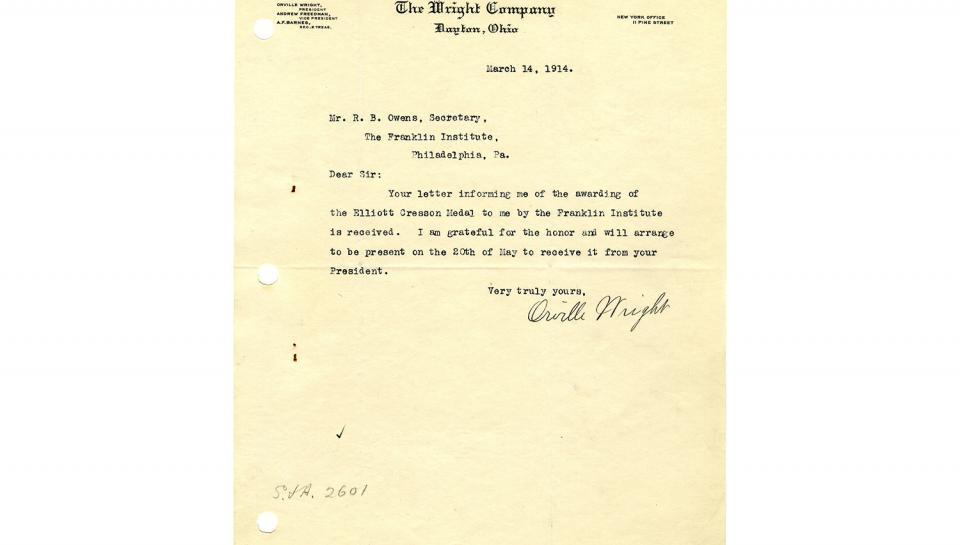 Letter from Orville Wright to R.B. Owens, Expressing gratitude for the award and promising attendance at the award ceremony, 3/14/1914