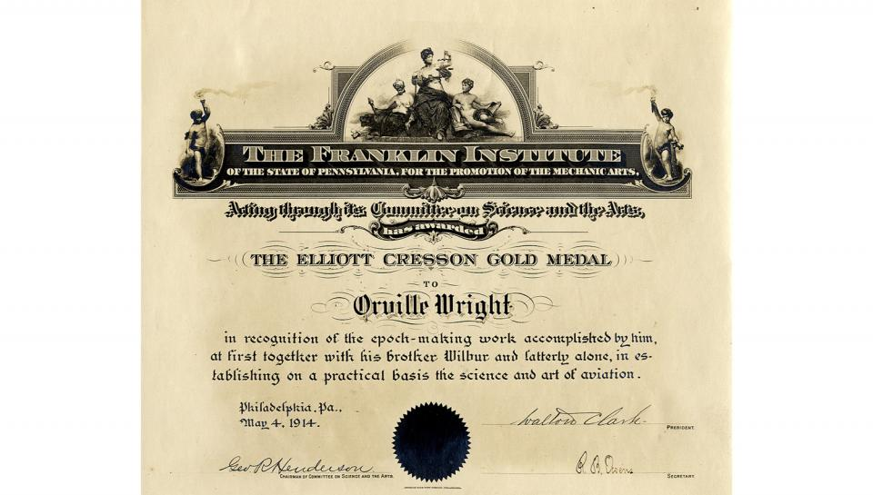 Committee on Science and the Arts Certificate, with citation, of Orville Wright as the Cresson Medal recipient, 5/4/1914