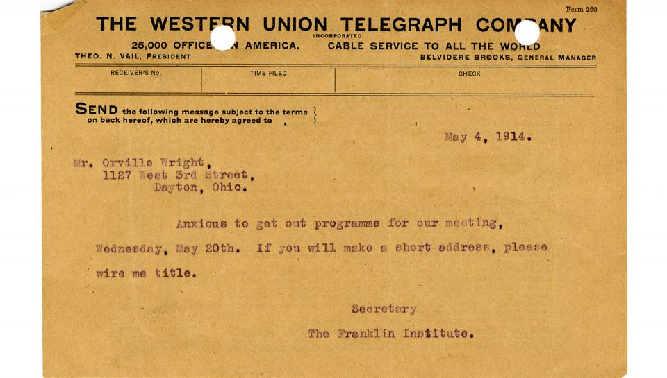 Telegram from Secretary to Orville Wright, Requesting the title of the address to be given on May 20th, 5/4/1914
