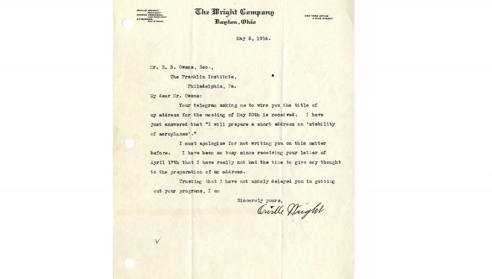 Letter from Orville Wright to R.B. Owens, Informing that a telegram has been sent, 5/5/1914