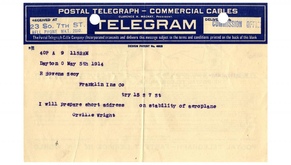 Telegram from Orville Wright to R.B. Owens, Supplying the title of the address to be given on May 20th, 5/5/1914