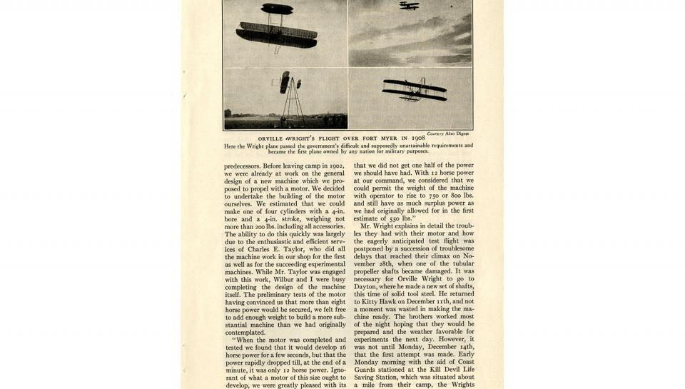 """Page 4 of 14: """"World's Work"""" magazine article on the Wright brothers, September, 1928"""