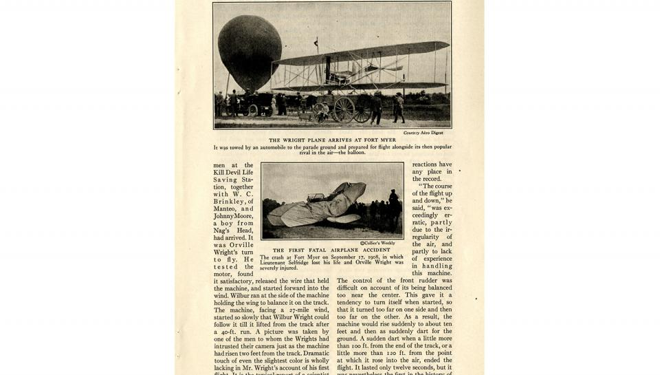 """Page 6 of 14: """"World's Work"""" magazine article on the Wright brothers, September, 1928"""