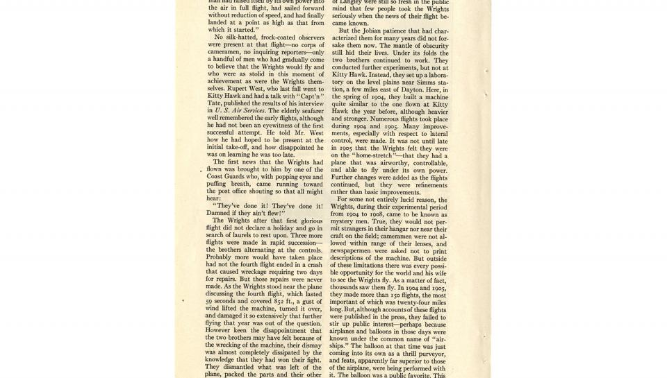 """Page 7 of 14: """"World's Work"""" magazine article on the Wright brothers, September, 1928"""