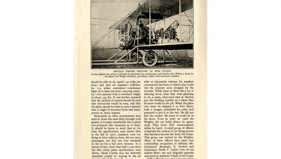 """Page 10 of 14: """"World's Work"""" magazine article on the Wright brothers, September, 1928"""