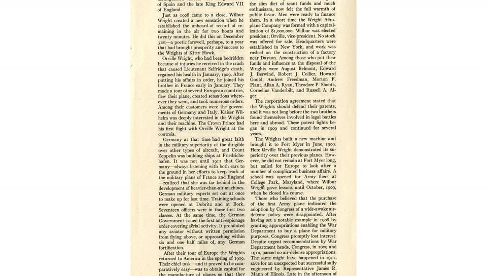 """Page 12 of 14: """"World's Work"""" magazine article on the Wright brothers, September, 1928"""