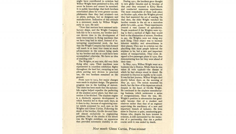 """Page 14 of 14: """"World's Work"""" magazine article on the Wright brothers, September, 1928"""