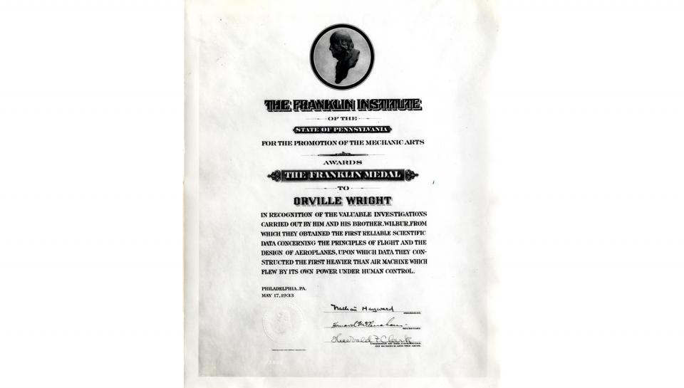 Image of the certificate for the Franklin Medal awarded to Orville Wright