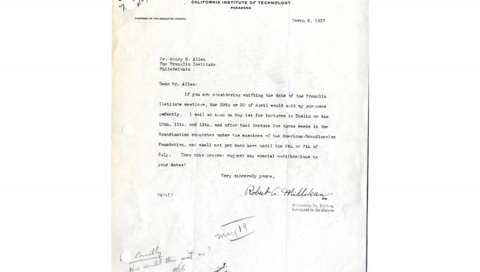 2nd page out of 2 Letter to Allen from Millikan, States summer schedule; 3/6/1937.