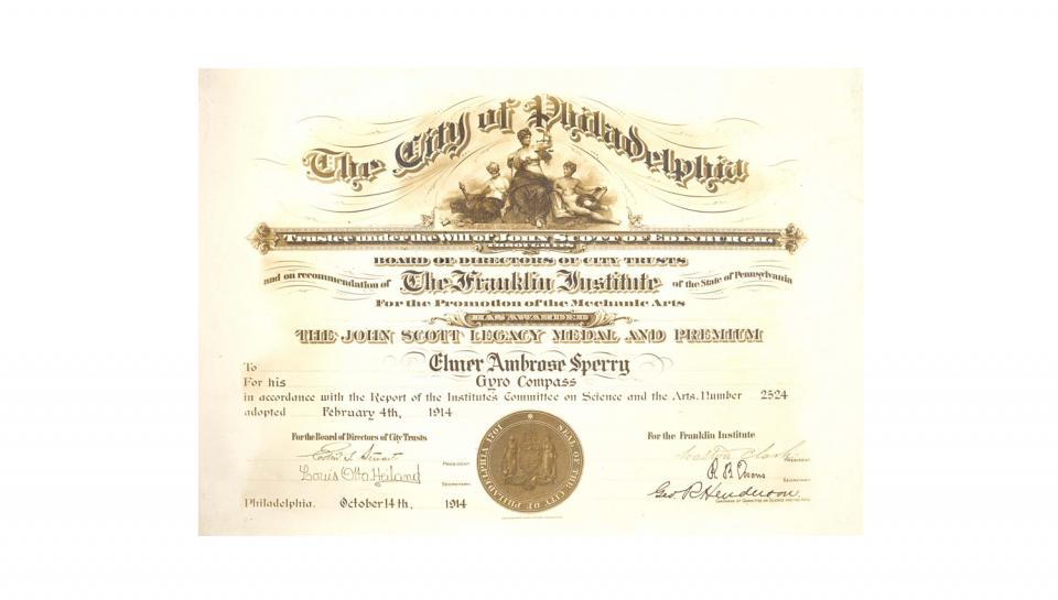 A certificate from The Franklin Institute for Elmer A Sperry's Gyro-Compass