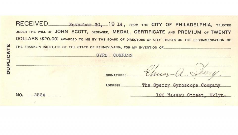 A check from the City of Philadelphia awarded to Sperry for the creation of the gyro-compass