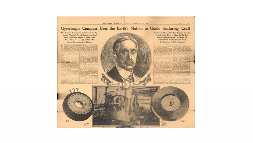 An old news article featuring Elmer A Sperry and his gyro-compass
