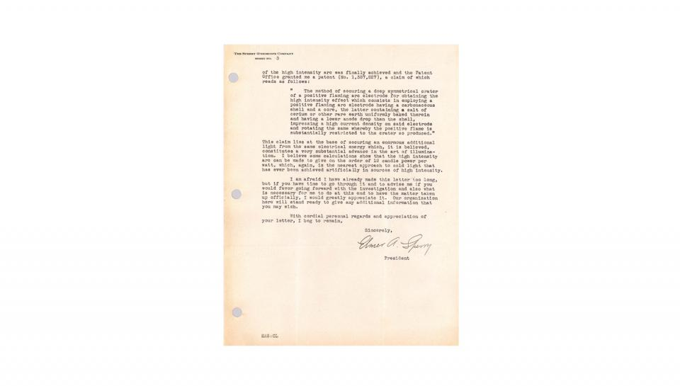 A letter written by Elmer A. Sperry discussing his Electric Searchlight