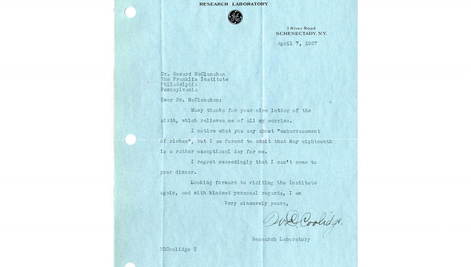 Letter from Coolidge April 7