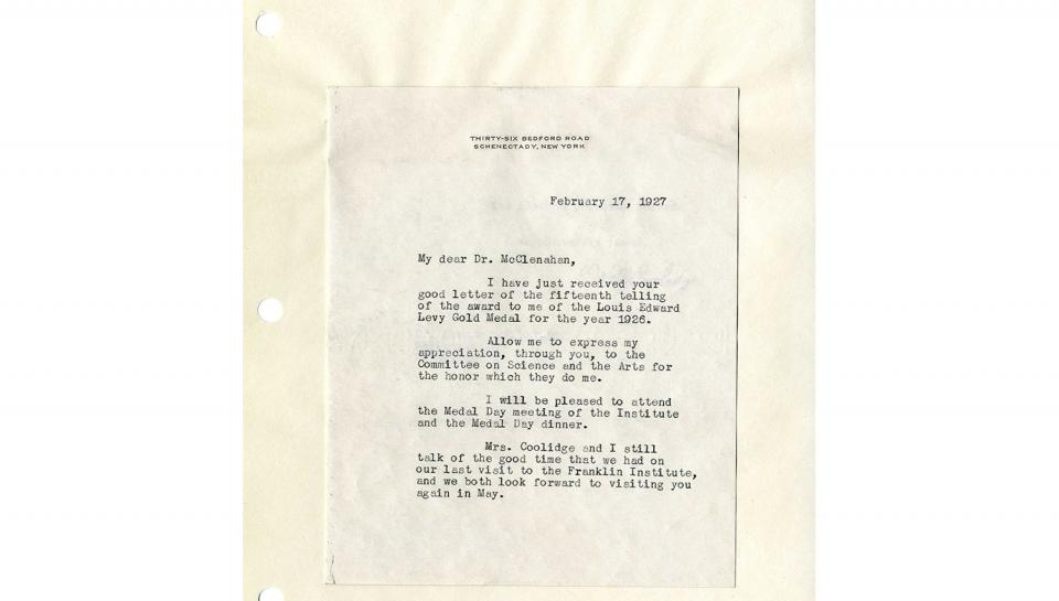 Letter from Coolidge February 27