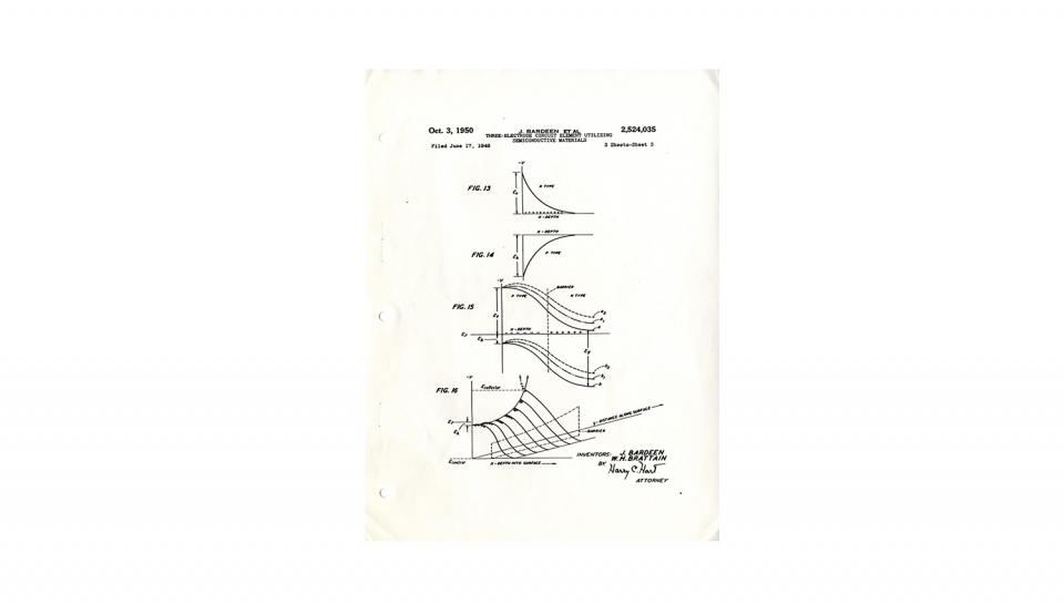 """Page 3 of 14: Patent 2,524,035 for the """"Three-Electrode Circuit Element Utilizing Semiconductive Materials;"""" 14 pages; 10/3/1950"""