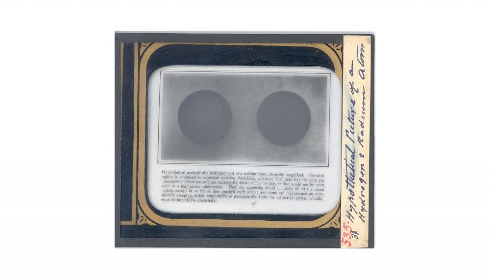 Lantern Slide. Hypothetical Picture of a Hydrogen and Radium Atom.