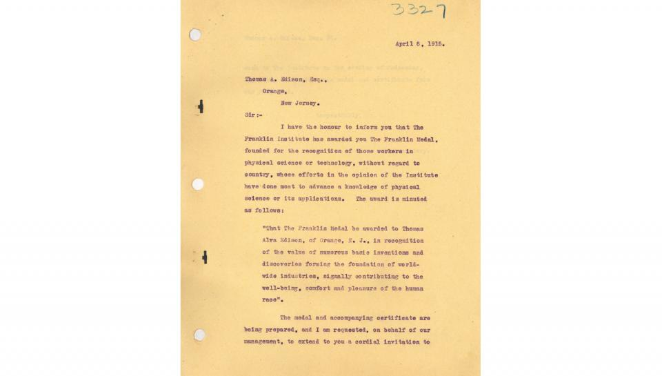 1st page out of 2 To Thomas A. Edison, Notifying of the Franklin Medal award and indicating May 19 ceremony date, 4/8/1915.