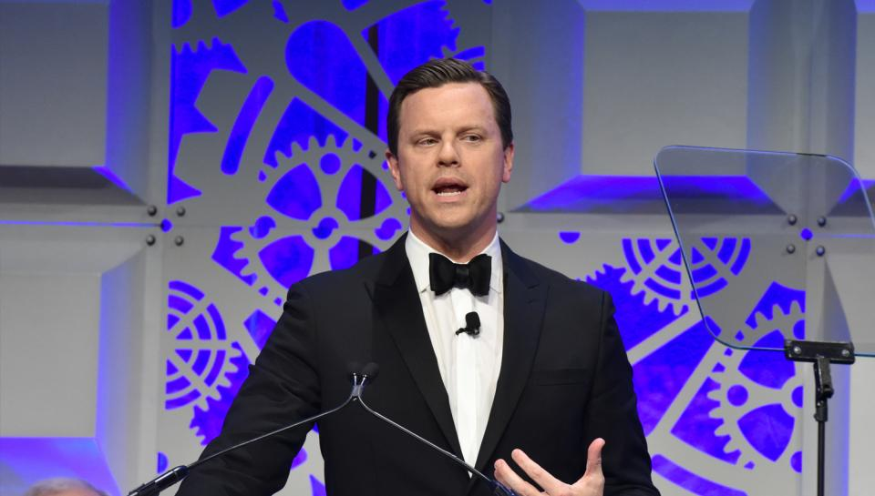 A man giving a speech at The Franklin Awards ceremony