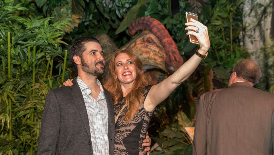 Guests at the debut of Jurassic World: The Exhibition at The Franklin Institute
