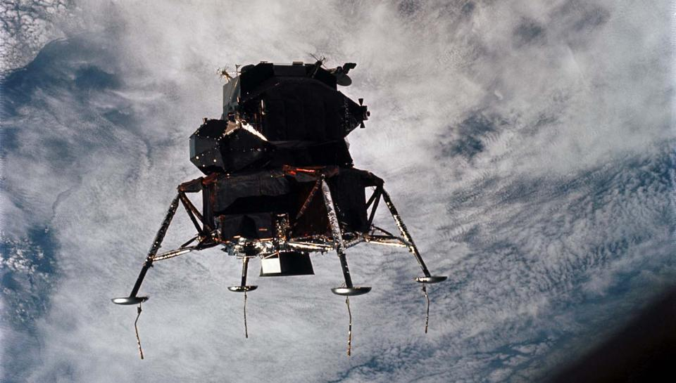 Apollo 9 Lunar Module in lunar landing configuration