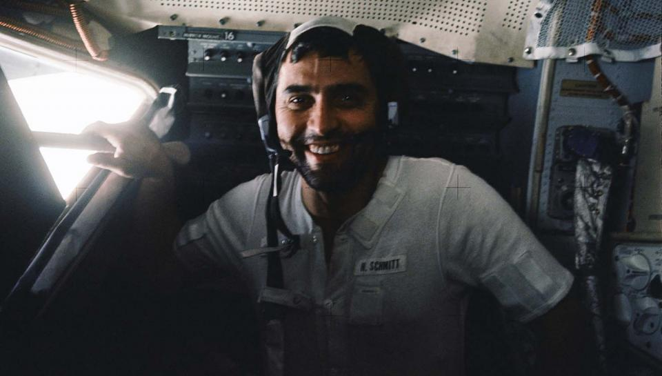 Astronaut Harrison Schmitt inside the lunar module on lunar surface after EVA