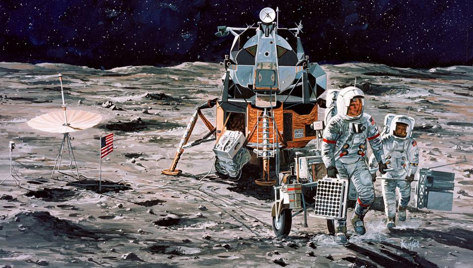 Artist's concept of Apollo 14 crewmen on their firs traverse of lunar surface
