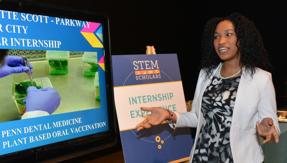STEM Scholars student discussing her internship experience