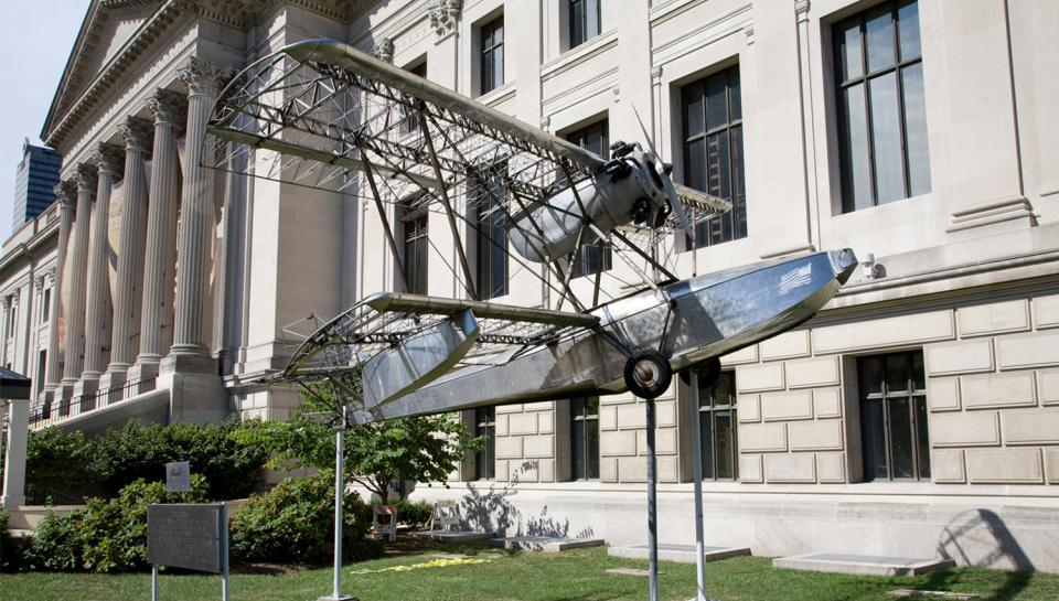 The Budd BB-1 Pionner Aircraft in front of The Franklin Institute