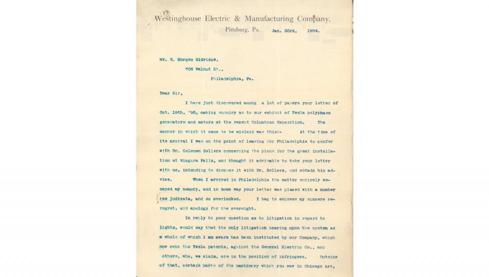 L.B. Stillwell (of Westinghouse Co.) Letter, to G. Morgan Eldridge, Responding to inquiry about exhibit of Tesla polyphase generators and motors at the recent Columbian Exposition, 1/23/1894.