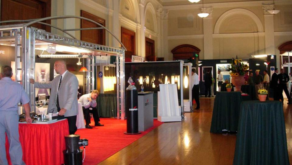 A trade show event being held in Pepper Hall at The Franklin Institute.