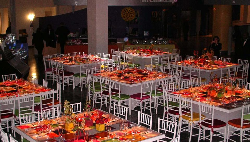 The Atrium set up to host a dinner event at The Franklin Institute.