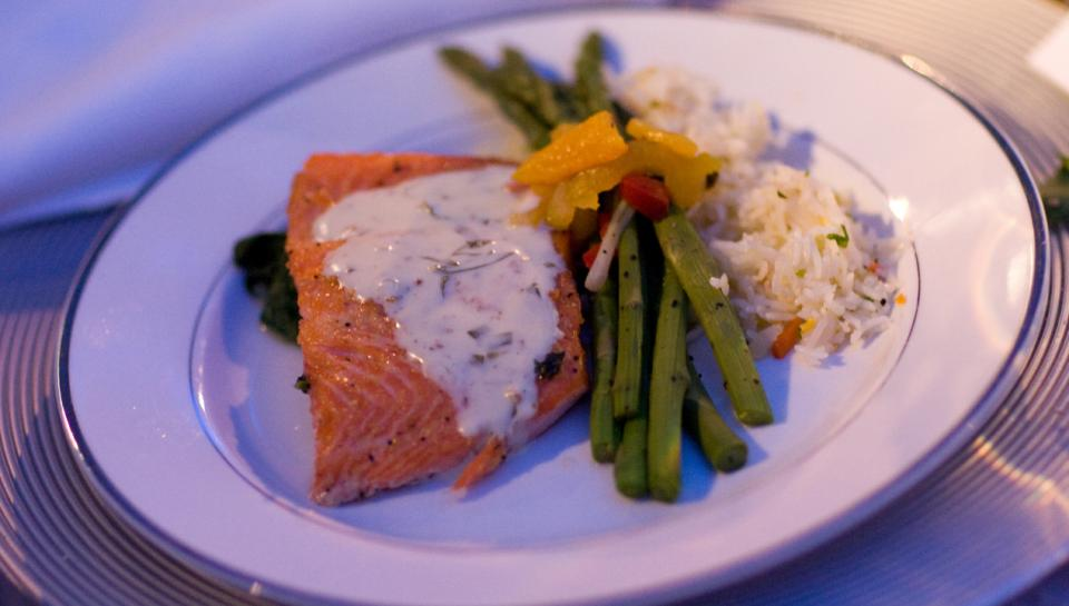 A salmon dish prepared by Frog Commissary at The Franklin Institute.
