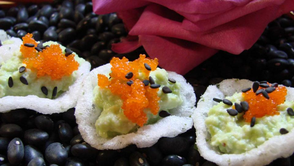 Hors d'oeuvres prepared by Frog Commissary at The Franklin Institute.